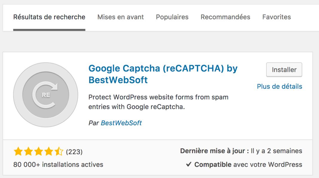 Comment installer le recaptcha google pour wordpress